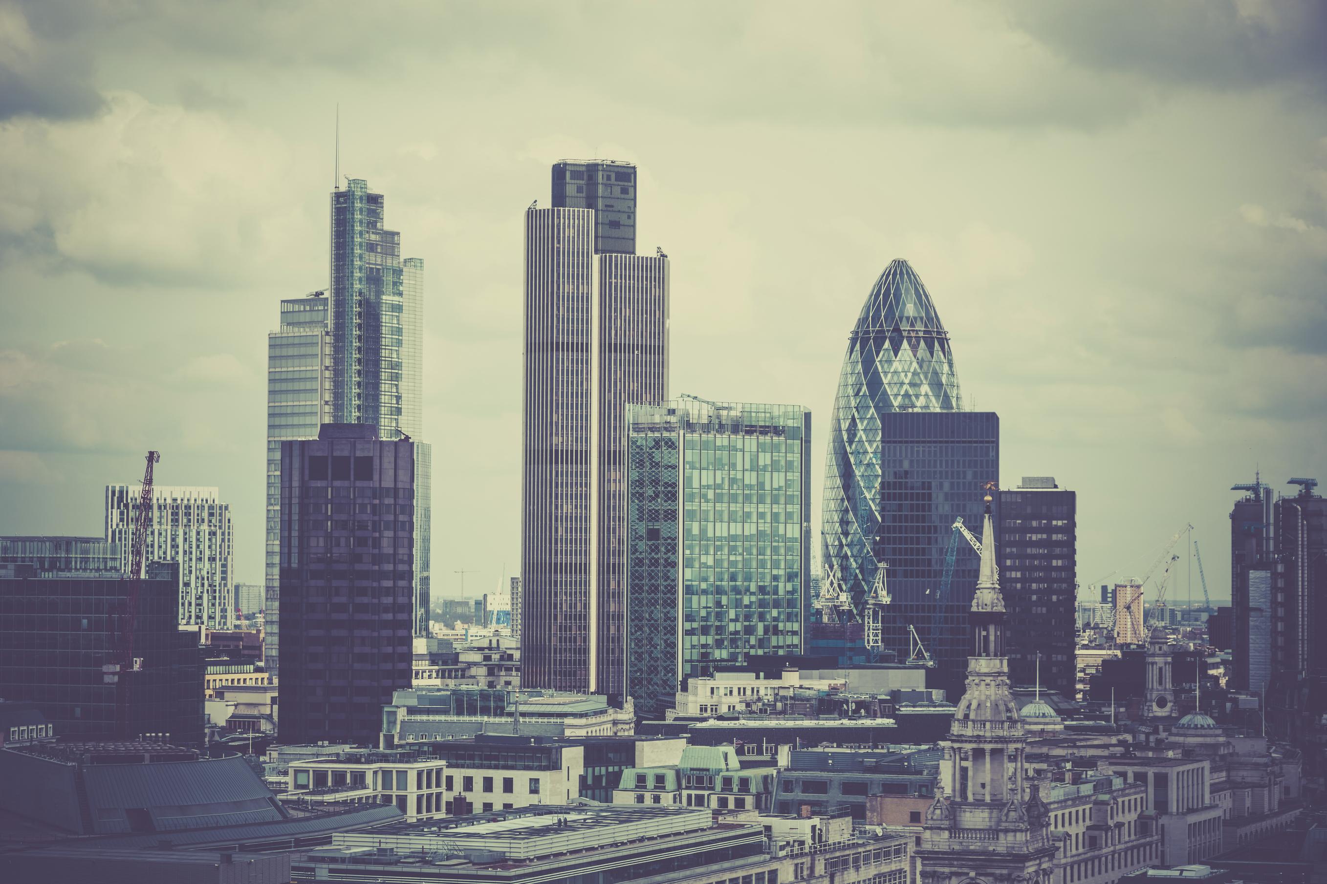 London Cityscape, United Kingdom.  Retro filter and grain added in post process.