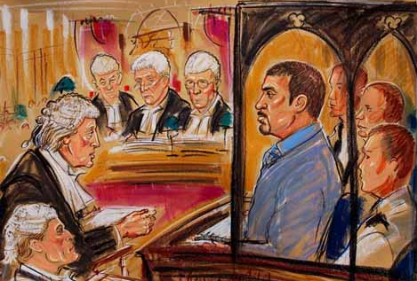 Michael Mansfield in the Court of Appeal in the Barry George case. Court sketch by Priscilla Coleman
